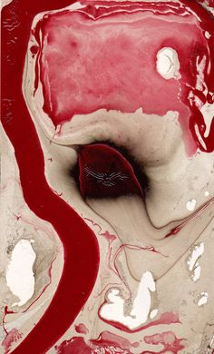Artist, Canada,abstract marbled painting RED RIVER #6 3x5 inch mixed media #Abstract