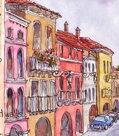 Everyday Artist: Sketchbook Journeys: Italy - Day 4 (Marostica & Poianella) Lovely site with lots of wonderful sketches. Arte Sketchbook, Watercolor Sketchbook, Pen And Watercolor, Watercolor Illustration, Watercolor Paintings, Painting & Drawing, Art Paintings, Simple Watercolor, Watercolor Trees