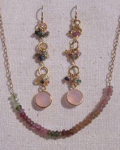 Pink Green Yellow and Golden Tourmaline Dangle by trebelladallas, $42.00