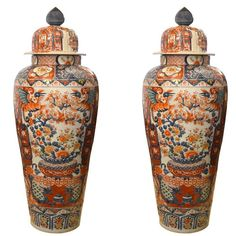 Large Pair of Imari Hand-Painted Vases with Lids