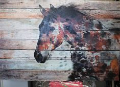 Fire Horse. Textured Extra Large Horse Art Equestrian Horse
