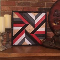 Barnwood Quilt Red and Black Reclaimed Wood by DustySquareDesigns