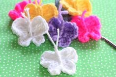 A cute little crocheted butterfly perfect for decorating scarves, blankets or just about any project for the butterfly lover.
