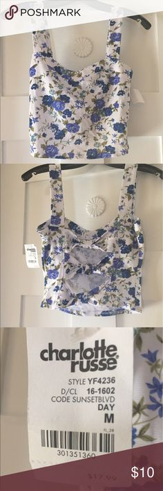 Floral crop top Floral, crop with open, bow back. Perfect for summer with white jeans or white skirt! Never been worn and new with tag. Charlotte Russe Tops Crop Tops
