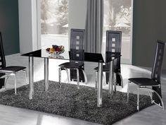 Crystal Dining Table (150cm) + 6 Miller Design Black