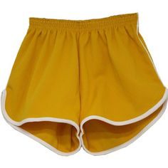 1970's Shorts (Size Label): 70s -Size Label- Unisex golden yellow with white applied stripes at waistband and leg hem, flat-textured polyester double knit elastic waist sport or running shorts with curved side vents