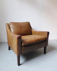 1970s Danish Olive Green Leather Armchair