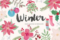 Hand Painted Watercolor Clip Art - Winter  YOU WILL RECEIVE: This listing is for 43 winter elements (winter foliage, christmas trees, ornaments,