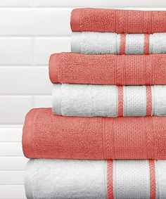 This Salmon Rose & White Quick-Dry Bath Towel Set is perfect! #zulilyfinds