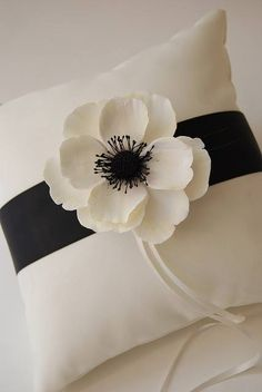 Items similar to Couture Clay - Made to Order Satin Ring Pillow with Clay Anemone Flower on Etsy Ring Bearer Pillows, Ring Pillows, Felt Flowers, Fabric Flowers, Felt Flower Pillow, Pillow Crafts, Cushion Cover Designs, Anemone Flower, Ring Pillow Wedding