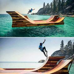 Floating #skatepark in #laketahoe #california | #skateboard | #ca what!? How!? Thats amazing!