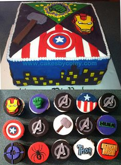 Avengers cake & cupcakes! http://cupcakestakethecake.blogspot.com/2012/10/fun-cupcakes-featuring-avengers-yo.html