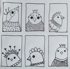 Bird 207 - mini portraits. By JG ... Been a bit busy hence latest are just in black and white ... But I think they are ok as simple line drawings.