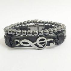 Kit 2 pulseiras masculinas couro clave sol pedra hematita