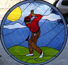 Original golf suncatcher! Custom Stained Glass, Beveled Windows & Lamps http://stainedglasswindows.com/ 619 575-2904