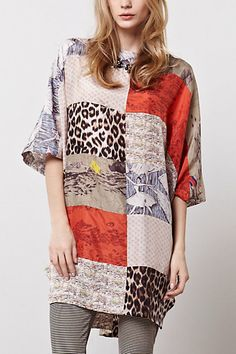 Djamila Tunic - Anthropologie.com top blouse mixed fabrics