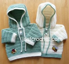 Free baby crochet pattern hooded sweater usa - http://www.justcrochet.com/hooded-sweater-usa.html