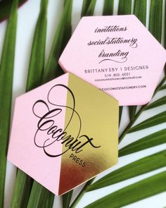 Pink and Gold Foil, Hexagon Die Cut Business Cards // Coconut Press Business Identity and Branding // Branding & Design by Coconut Press // Printing by Rise and Shine Letterpress