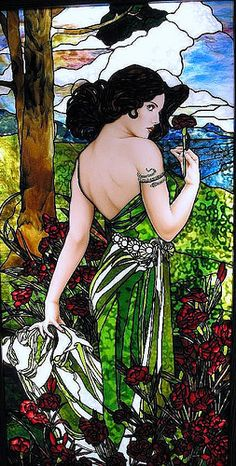 Art Nouveau, inspired by Alphonse Mucha by Stained Glass Painter / Jim M. Berberich  - i like the realistic painting mixed with the improv of glass art