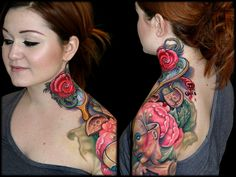 Nick Baxter tattoo - love the vibrancy of the rose and the entire piece