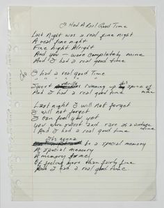 """Handwritten lyrics by Johnny Cash to the song """"I Had a Real Good Time."""""""
