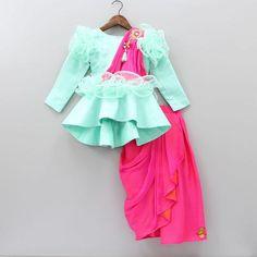 Pre Order: Peplum Top With Drape Saree Style Skirt