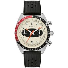 Men's Bulova Diver Surfboard Watch with Off-White Dial and Black Silicone Strap 200m, Vintage Waves, Vintage Style, Bulova Watches, Red Accents, Black Rubber, Stainless Steel Case, Watch Bands, Chronograph