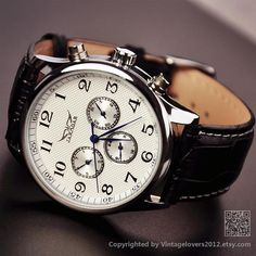 Mens Watch Leather WAT0104WHITE by VintageLovers2012 on Etsy, $34.99