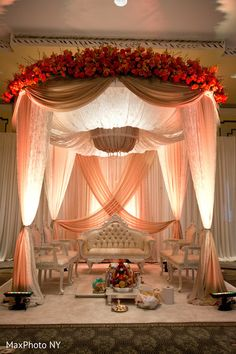 A beautiful mandap is definitely our weakness! How gorgeous is this? What's yours favorite type of mandap? Wedding Mandap, Desi Wedding, Wedding Ceremony, Wedding Receptions, Wedding Table, Nikah Ceremony, Wedding Draping, Marriage Reception, Maroon Wedding