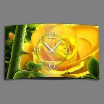gelbe Rose Designer Wanduhr Edelstahl modernes Wanduhren Design leise kein ticken DIXTIME 3D-0098