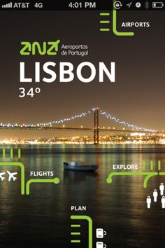 The User Interface (UI) of ANA Portuguese Airports application is very clean and simple, with a picture as a background for the app and the navigation lay on Mobile Ui Design, App Ui Design, Interface Design, User Interface, Web Design, Brand Design, Flat Design, Cover Design, Ipod Touch