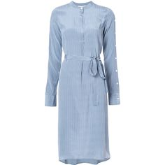 Robert Rodriguez belted stripe shirt dress (€375) ❤ liked on Polyvore featuring dresses, blue, striped shirt dresses, shirt dress, blue stripe dress, silk shirt dress and blue striped dress