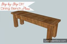 These step-by-step DIY dining bench plans from Little Green Bow will show you how to build your own Pottery Board inspired bench for your dining table.