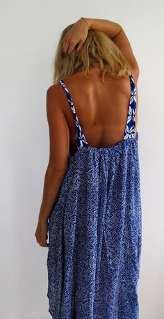 Ladies Swing Dress Cobalt Blue Mini Leaf Print by ljcdesignss