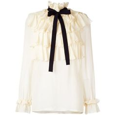 GUCCI ruffled blouse (€1.300) ❤ liked on Polyvore featuring tops, blouses, white top, bow blouse, white bow blouse, white ruffle top and ruffle neck blouse