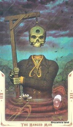 santa muerte tarot the hanged man Hanged Man Tarot, The Hanged Man, Occult Tattoo, Symbolic Art, Tarot Astrology, Pagan Art, Exotic Art, Tarot Learning, Evil Clowns