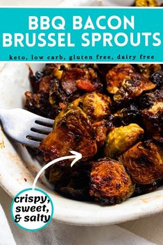 Brussel sprouts are roasted with bacon and a bbq glaze until crispy and caramelized. These bbq bacon brussel sprouts are sweet, salty, and crispy and so good that I bet you won't be able to eat just one!
