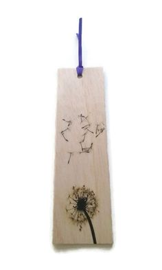 Wood bookmark  wooden bookmark  dandelion by StitchandWood on Etsy