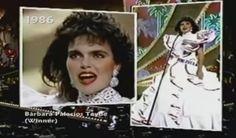 Un Impecable Traje de Dama Antañona, en Color Blanco y Acicalado con Cintas en Color Fuscia, fue Creado para Barbara Palacios, con Motico de Representar a Venezuela en el Miss Universe, a Celebrarse en la Ciudad de Panamá - Panamá