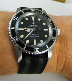 "Corvus ""Original Movie-Style Real James Bond Watchband"", on a vintage Rolex Submariner Reference 5512 from 1967"
