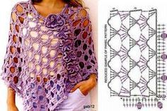 The ponchos are garments that give comfort and are warm, either in winter or in most sunny days in the spring. For those who like to crochet and enjoy ponchos, we leave here a selection of 26 magnificent crochet ponchos, … Read more. Poncho Au Crochet, Pull Crochet, Crochet Patron, Poncho Knitting Patterns, Crochet Blouse, Crochet Motif, Crochet Stitches, Knit Crochet, Crochet Patterns