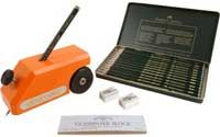 Elcometer 501 Pencil Hardness Tester The pencil hardness test, also referred to as the Wolff-Wilborn test, uses the varying hardness values of graphite pencils to evaluate a coating's hardness.  The Elcometer 501 has been designed to ensure that the cylindrical pencil lead is maintained at a constant angle of 45° and exerts a force of 7.5N (1.68lbF).  The pencil lead, prepared beforehand using the special sharpener and abrasive paper, is inserted into the Elcometer 501