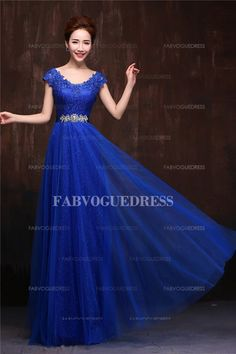 A-Line/Princess V-neck Floor-length Lace Tulle Evening Dress