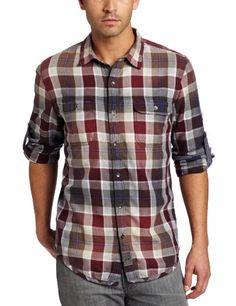 Calvin Klein Jeans Men's Ramble Plaid Shirt, Dark Brocade, Large