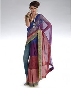 New saree draping style ! Saree Draping Styles, India And Pakistan, Designer Wear, Asian Fashion, Sarees, Gowns, Couture, Bride, Indian Style