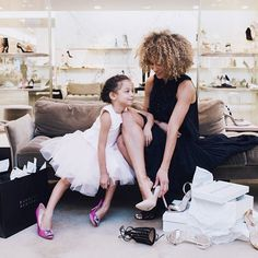 Mom and daughter at shoe shop