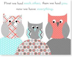 First We Had Each Other Aqua Coral Gray Nursery Art Girl's Room Decor Owls Baby Shower Gift 8 x 10 or 11 x 14 Print or Canvas