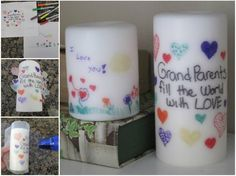 Learn how to transfer writing onto candle with this easy video tutorial. See the kids scribble transform into wonderful homemade gifts.