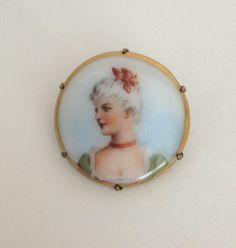 French Porcelain Portrait Brooch by WhirleyShirley on Etsy