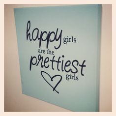 Happy Girls are the Prettiest Girls - Audrey Hepburn Quote - Canvas Wall Sign with Custom Colors.